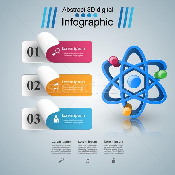 Absztrakt 3D infografika atom ikon üzlet Stock fotó © rwgusev