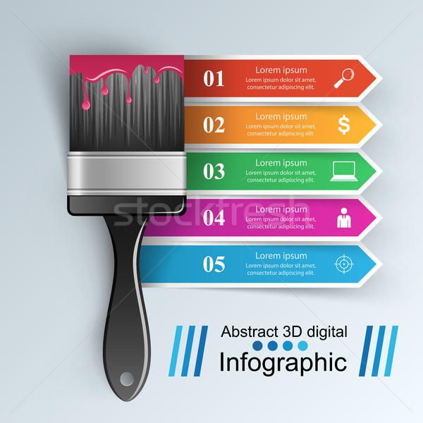 Ecset ikon üzlet infografika rajz szürke Stock fotó © rwgusev