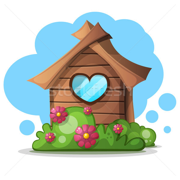 Wood cartoon house bush. Bush and flower icon. Stock photo © rwgusev