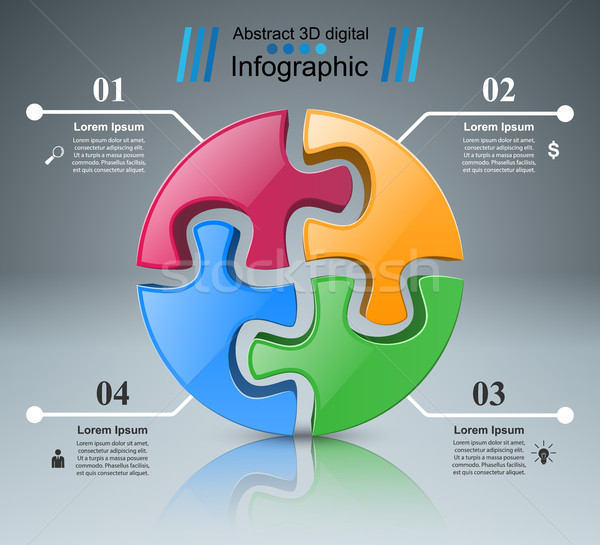 Stock photo: Puzzle logo. Business Infographics.