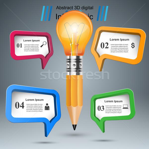 3D lamp potlood icon business Stockfoto © rwgusev