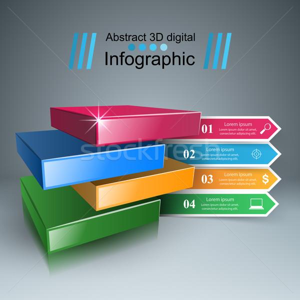 抽象的な 3D デジタルイラストレーション インフォグラフィック ビジネス インフォグラフィック ストックフォト © rwgusev