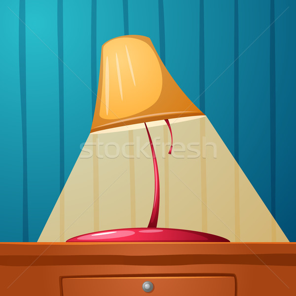 Table lamp is on the table. Wall-papers in the strip. Stock photo © rwgusev