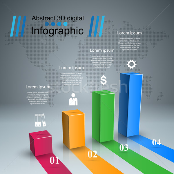 Abstract 3D digital illustration Infographic. Stock photo © rwgusev