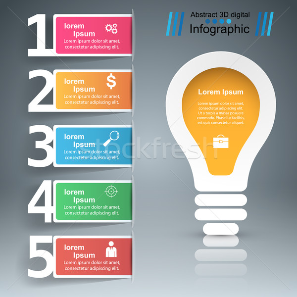 Infografika terv villanykörte fény ikon design sablon Stock fotó © rwgusev