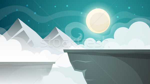 Cartoon night landscape. Mountain, moon illustration. Stock photo © rwgusev