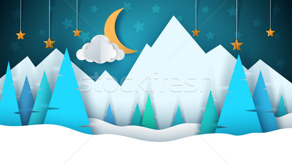 Winter cartoon paper landscape. Merry christmas, happy new year. Fir, moon, cloud, star, mountain, s Stock photo © rwgusev