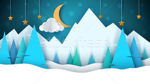 Winter cartoon papier landschap vrolijk christmas Stockfoto © rwgusev