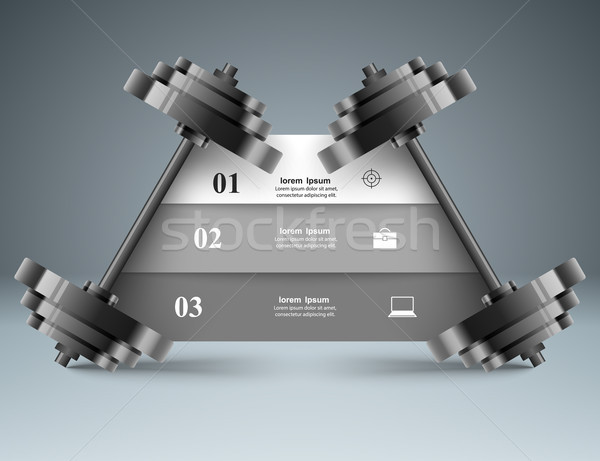 Sports activity. Business infographics. Barbell icon. Stock photo © rwgusev