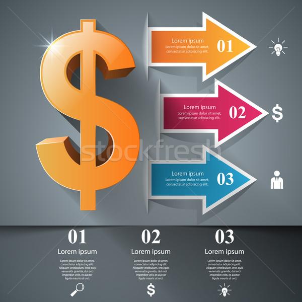 3D インフォグラフィック デザイン ドル アイコン ビジネス ストックフォト © rwgusev
