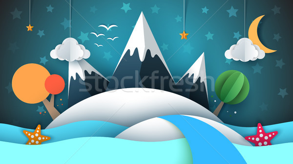 Papel ilha estrela montanha nuvem lua Foto stock © rwgusev