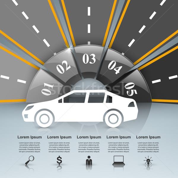 Carretera infografía plantilla de diseño comercialización iconos coche Foto stock © rwgusev