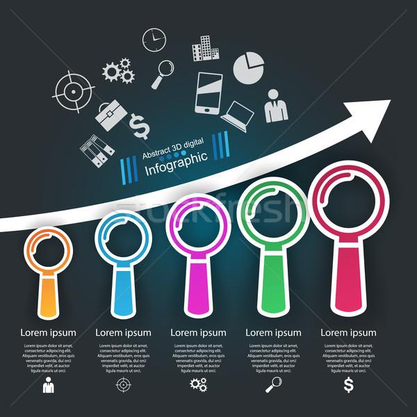 Business Infographics origami style Vector illustration. Loupe i Stock photo © rwgusev
