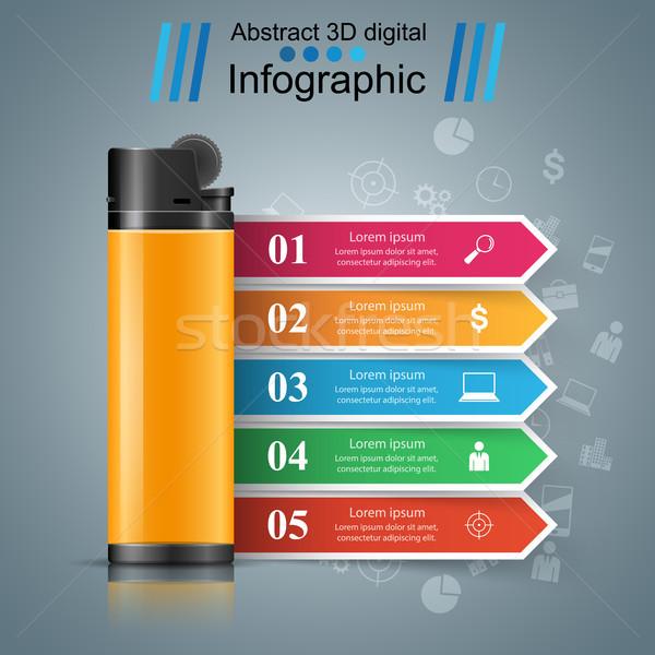 Realista encendedor negocios infografía comercialización icono Foto stock © rwgusev