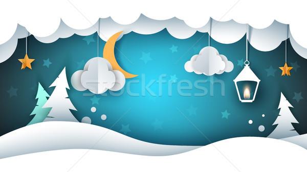 снега пейзаж бумаги иллюстрация облаке ель Сток-фото © rwgusev