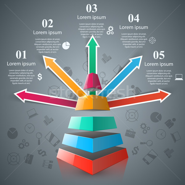 Pyramid 3D digital illustration Infographic. Stock photo © rwgusev