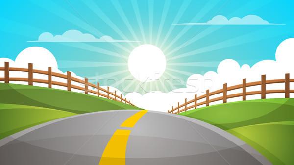 Cartoon hill landscape. Road, travel illustration, fence. Stock photo © rwgusev