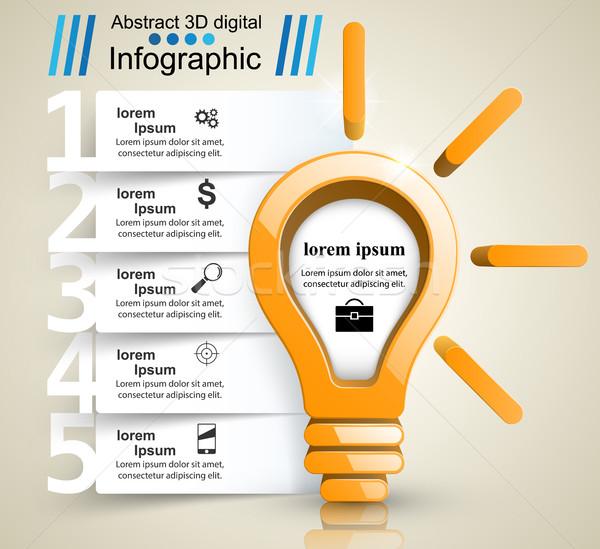 дизайна лампа свет икона дизайн шаблона Сток-фото © rwgusev