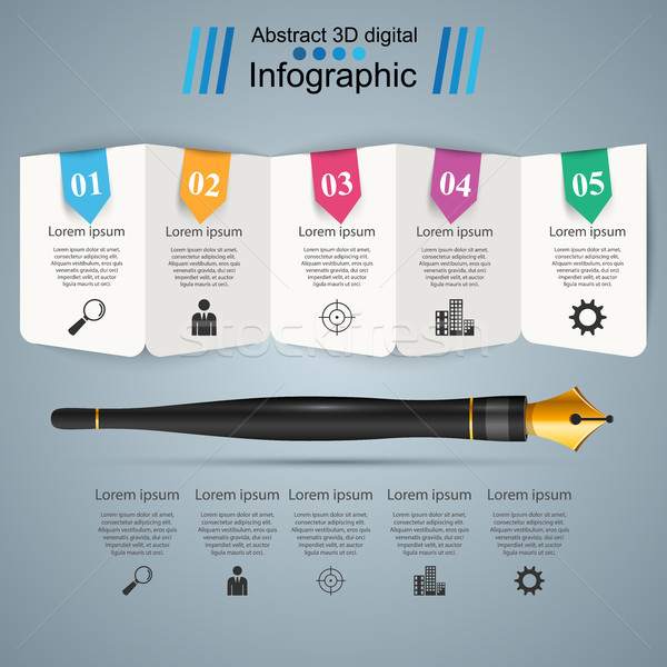 Pen, ink,  education icon. Business infographic. Stock photo © rwgusev
