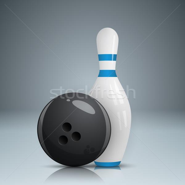 Bowling játék valósághű ikon szürke sport Stock fotó © rwgusev