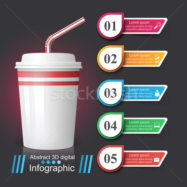 Beker icon koffie thee infographics vector Stockfoto © rwgusev