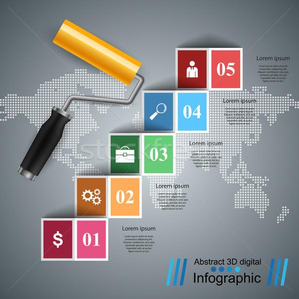 Ikon üzlet infografika festék rajz szürke Stock fotó © rwgusev