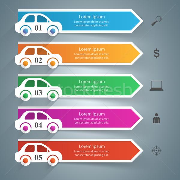 út infografika design sablon marketing ikonok autó Stock fotó © rwgusev