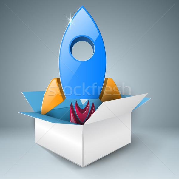Foguete caixa abstrato ilustração modelo de design Foto stock © rwgusev