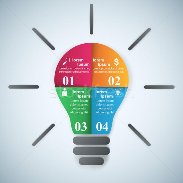 Business infographics origami stijl lamp Stockfoto © rwgusev