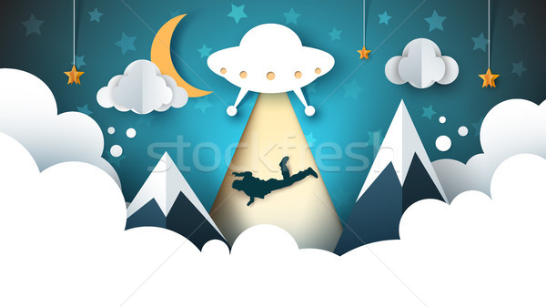 Ufo persoon cartoon papier illustratie vector Stockfoto © rwgusev