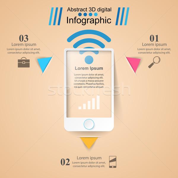 3D infografika design sablon marketing ikonok okostelefon Stock fotó © rwgusev