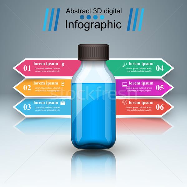 бизнеса Инфографика медицина бутылок рецепт икона Сток-фото © rwgusev