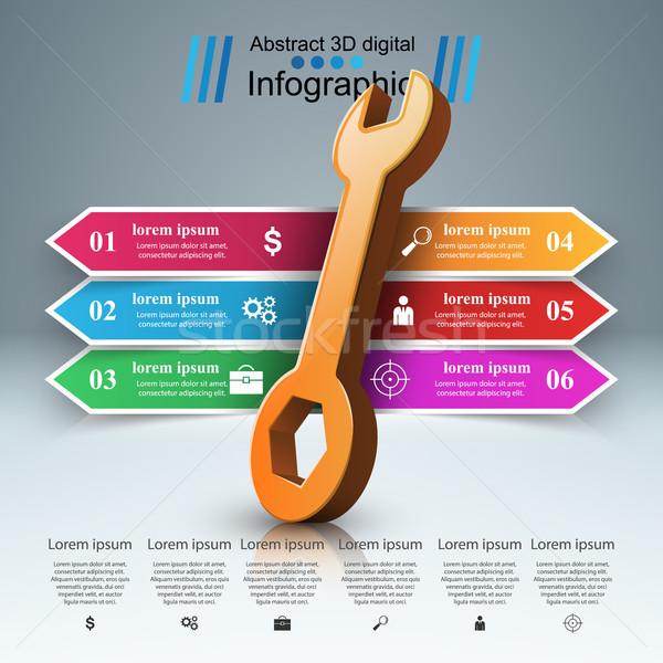 Franciakulcs csavar javítás ikon üzlet infografika Stock fotó © rwgusev