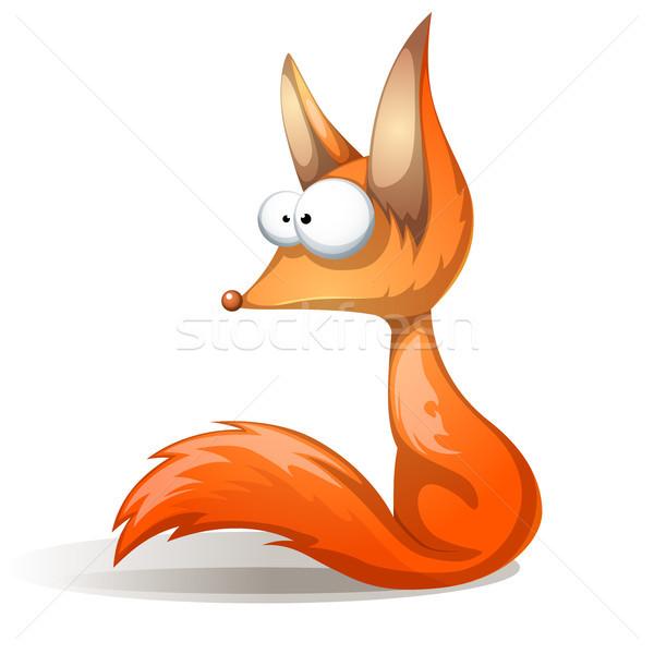 Crazy смешные Cute красный Fox вектора Сток-фото © rwgusev