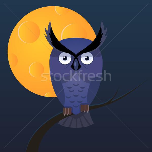 Bagoly hold vektor rajz illusztráció sötét Stock fotó © rwgusev