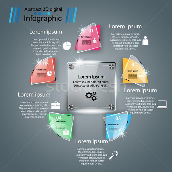 Cam 3D iş infographics Stok fotoğraf © rwgusev