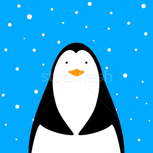 Funny, cute penguin illustration. Stock photo © rwgusev