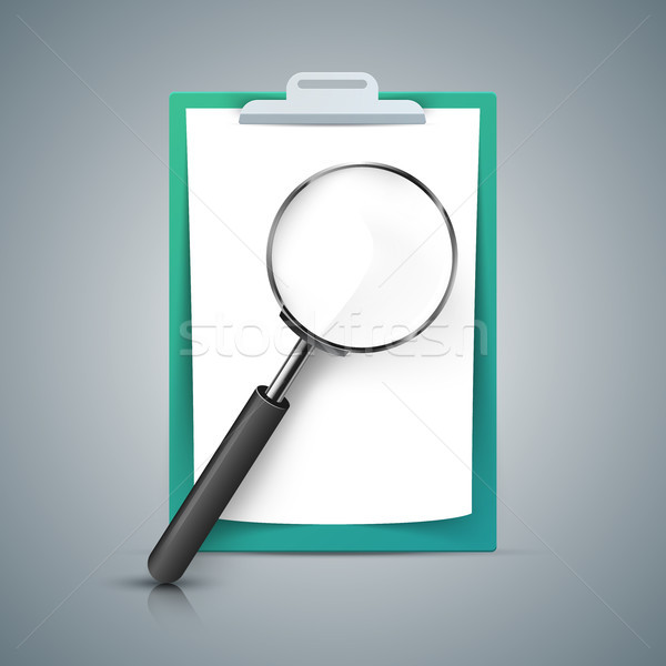 Loupe, A4 paper, tablet icon. Stock photo © rwgusev