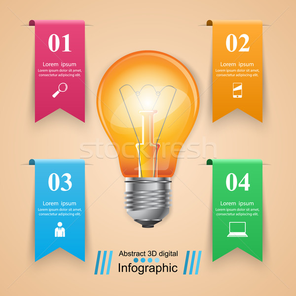 Business infographics origami stijl lamp Stockfoto © rwgusev