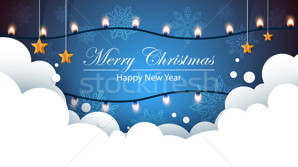 Merry christmas bulb yellow garland on the flakes background. Bulb, star, snow, cloud. Stock photo © rwgusev
