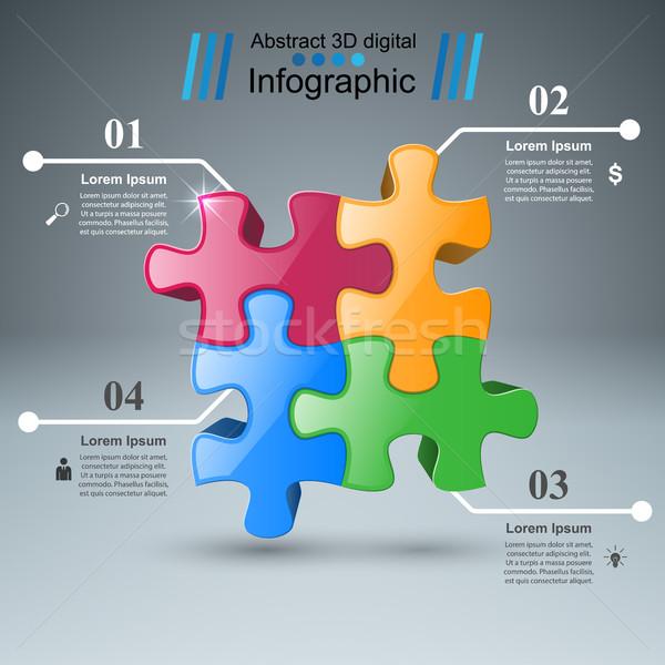 Stock photo: Puzzle logo. Business Infographics.