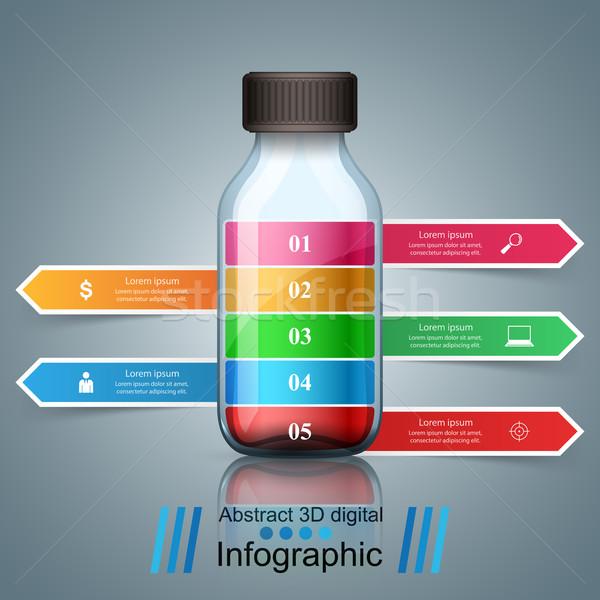 üveg víz infografika üzlet origami stílus Stock fotó © rwgusev