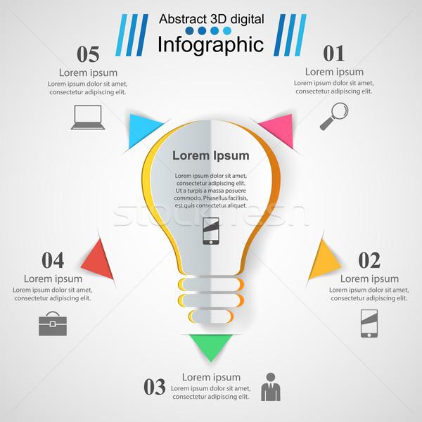 бизнеса Инфографика оригами стиль лампа Сток-фото © rwgusev