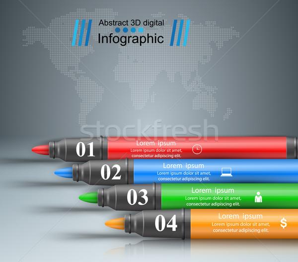 üzlet infografika jelző ikon 3D infografika Stock fotó © rwgusev