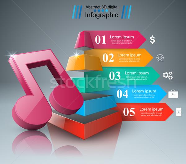 Música educación infografía nota icono resumen Foto stock © rwgusev