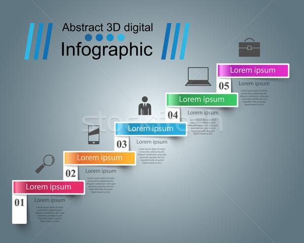 Infografika felfelé létra siker üzlet lépcső Stock fotó © rwgusev