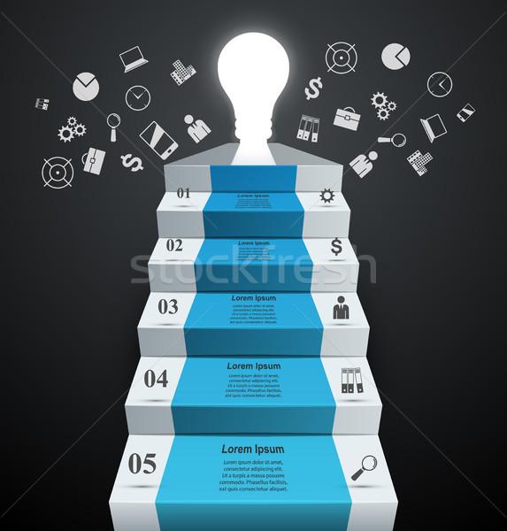Infografika felfelé létra siker villanykörte lépcső Stock fotó © rwgusev