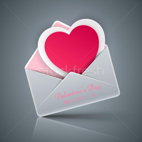 Valentin nap nap szív boríték vektor eps Stock fotó © rwgusev
