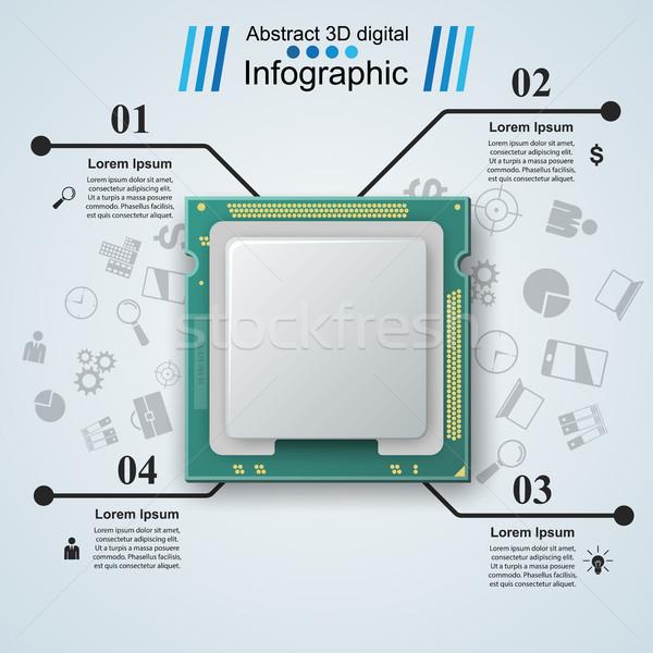 Microprocessor chip elektronische onderdelen icon witte Stockfoto © rwgusev