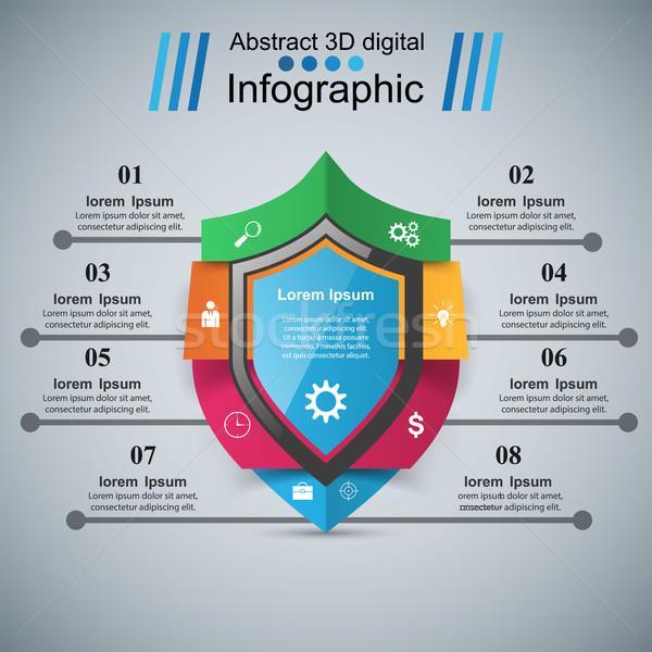 Proteção negócio infográficos marketing ícone segurança Foto stock © rwgusev